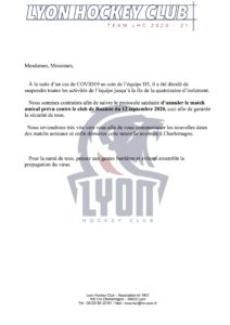 Information annulation match amical lyon roanne 12 09 2020